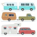 Rv-bilar, loppmobilhus, campa släp för familj, isolerad uppsättning för motorhomemedelvektor stock illustrationer