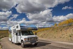 RV on Boulder Mountain road in Utah Royalty Free Stock Image