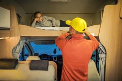 Free RV Camper Bed Time Stock Image - 161305781