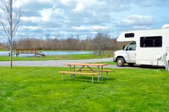 RV camper in camping, family vacation travel, holiday trip in motorhome caravan Royalty Free Stock Photos