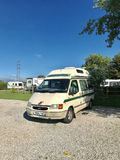 Campervan on campsite Wales UK Stock Photography