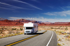 RV Camper on highway Stock Images