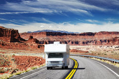 RV Camper on highway royalty free stock photos