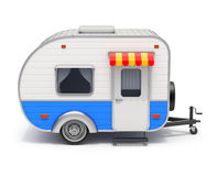 RV Camper Trailer Retro On White Background