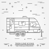 RV camper trailer thin line. Camping RV trailer caravan outline icon. RV travel camper grey and white vector pictogram  on Royalty Free Stock Photography