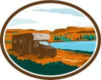 RV Camper Van Desert Scene Oval Retro Royalty Free Stock Photos