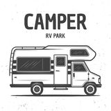 RV camper van isolated vector black illustration. RV camper van or caravan bus isolated vector monochrome illustration on background with grunge texture stock illustration
