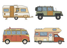 RV Campers and Trailer in Thin Line Art Stock Image