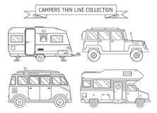 RV Campers and Trailer in Thin Line Art Royalty Free Stock Photography