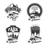 RV and campers vector emblems, labels, badges, logos set Stock Images