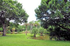 RV campground park. Lakes, green grass and trees in a RV campground in a Broward County park, South Florida Stock Photo