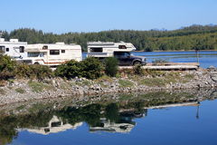 Rv camping. Camping with R.V's in the summer on the west coast royalty free stock image