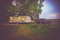 RV Camping Adventure Stock Photo