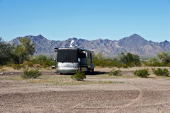 RV Camping in the Desert stock photo