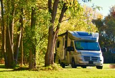 RV Camping in the North Woods. RV camping in the Great Outdoors. Relaxation, fishing, fun and photography stock photo