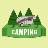 RV camping illustration. Vector Royalty Free Stock Image
