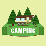 RV camping illustration. Vector Stock Photo