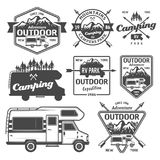 RV camping, outdoor recreation vector emblems. Set of rv camping, outdoor recreation with mountains and camper van vector monochrome labels, emblems, badges and vector illustration
