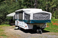 RV Camping in a Pop-Up Trailer Royalty Free Stock Photos