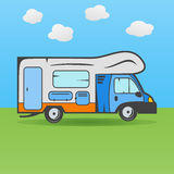 RV camping truck. On the meadow Stock Images