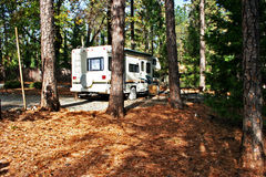 RV Camping in the Woods stock photography