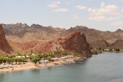 RV campsite in the lower Colorado. Between Lake Havasu and Parker royalty free stock image