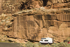 RV in Capital Reef. Recreational vehicle along the road in Capital Reef national Park in Utah Royalty Free Stock Image