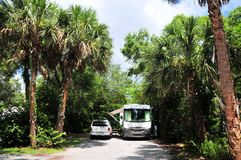 RV car in campground site. RV campground in a Broward County park, South Florida Stock Photo