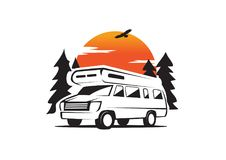 Rv park with natural background. Rv car for RV company with natural background, sun, pine tree, farm, abstract, travel royalty free illustration