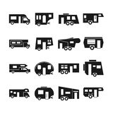 RV cars, campers vector icons Stock Photo