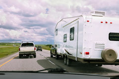 RV and cars on road Stock Photos