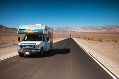 RV Death Valley National Park. Motor Home RV travel in Death Valley National Park, California Stock Photo