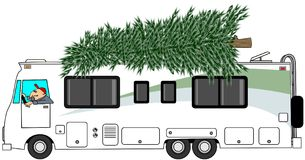 RV delivering a Christmas tree Royalty Free Stock Photo