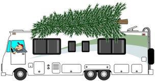 RV, der einen Weihnachtsbaum liefert Lizenzfreies Stockfoto
