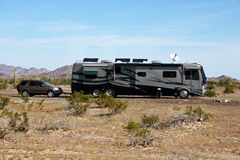 RV in the Desert Stock Photography
