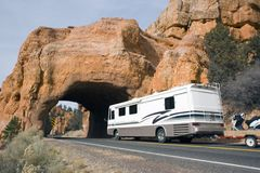 RV driving to the tunnel Royalty Free Stock Photo