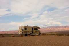 An rv dry-camping in the desert Royalty Free Stock Photo