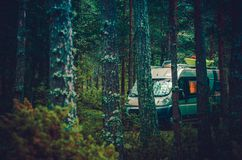 Rv Forest Camping Fotografia de Stock Royalty Free