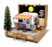 Rv-kampeerautoaanhangwagen in het geval Royalty-vrije Stock Foto's