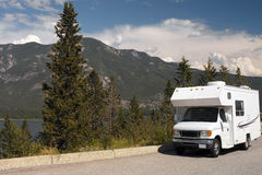 RV in Kootenay National Park - Canada. RV parked near a lake in Kootenay National Park in British Columbia in southwestern Canada Stock Images