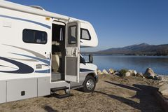 RV by a lake Royalty Free Stock Photography