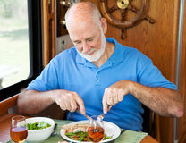 Rv-älterer Mann - gesundes Essen Lizenzfreies Stockbild