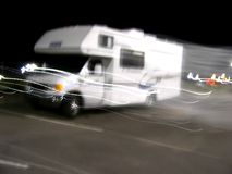 RV in Motion 01. A motion shot of an RV Stock Photos