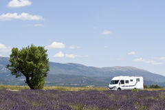 RV. Motor Home. Motor home on the move. Provence Royalty Free Stock Photos
