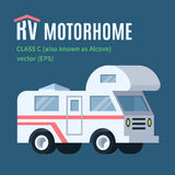 RV Motor home. RV logo, class C. Volume flat vector illustration stock illustration