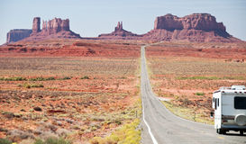 RV motorhome entering monument valley, utah Royalty Free Stock Photo