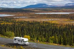 Rv, motorhome on the roads of Alaska. Denali highway. stock photo