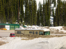 An rv at a mountain pass in the springtime Stock Images