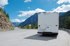 Rv on the mountain road royalty free stock images