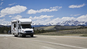 RV in mountains royalty free stock photography